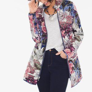 NWT Chico's Reversible Floral Quilted Jacket